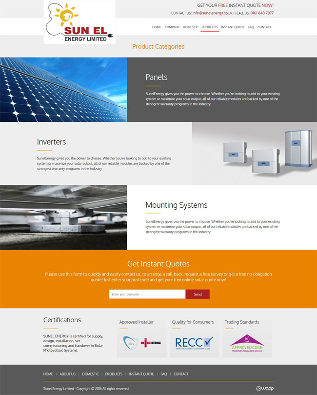 Website for Sunel Energy in Manchester, United Kingdom