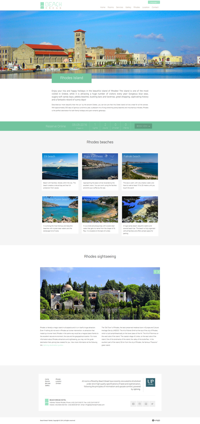 Responsive website for Beach Break hotel in Faliraki, Rhodes