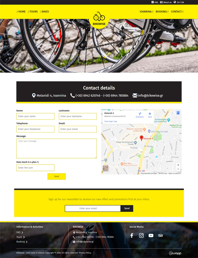 Responsive website for Bikewise in Ioannina