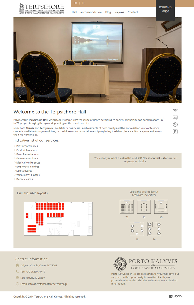 Website for Cretan Conference Center Terpsichore Hall in Chania