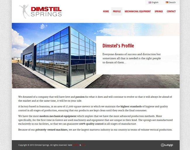 Website for Dimstel Springs in Ioannina, Epirus