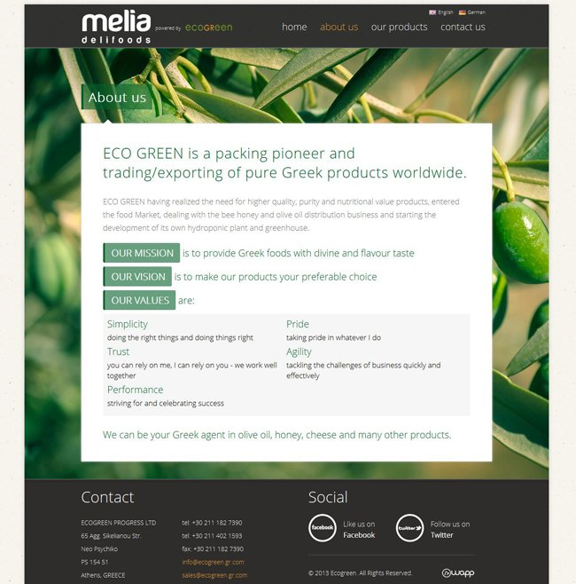 Website for Ecogreen Melia Delifoods trading company in Athens