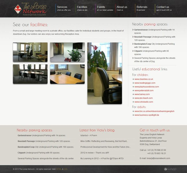 Website for The Loras Network in Zug, Switzerland