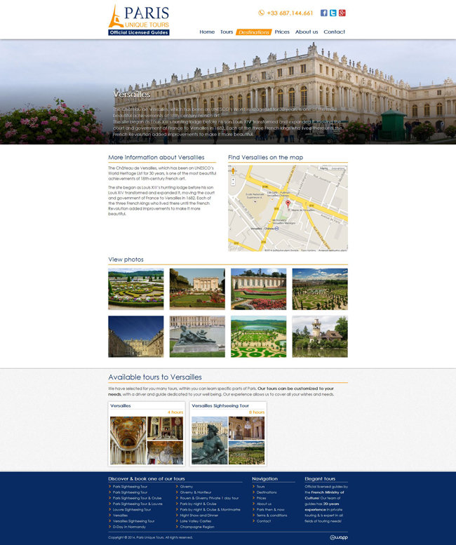 Website for Paris Unique Tours, official licensed guides in France
