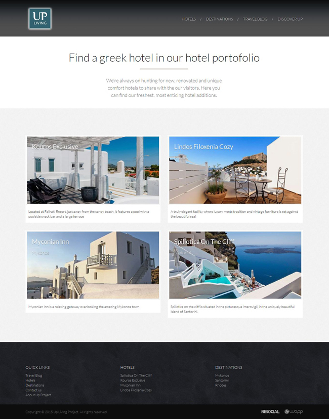 Web application for Up Living Project in Athens